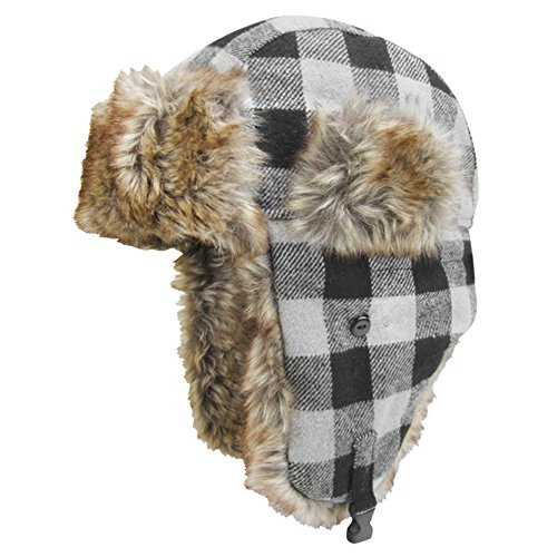 Igloos Men's Wool Blend Trapper Hat, Gray Plaid, Large/X-Large