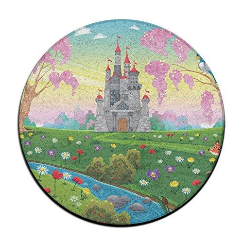 Coral Wool Round Door Mat Fairy Tale WorldBathroom Round Mats Rubber Non Slip Round 16