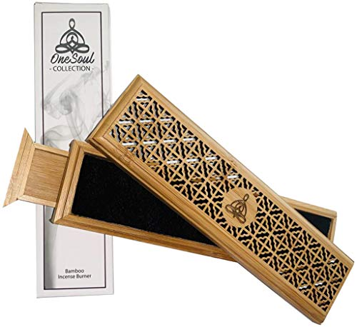 OneSoul Collection Bamboo Wood Incense Holder Ash Catcher with Storage Drawer in a Luxury Gift Box