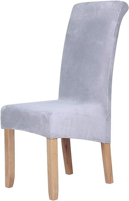 Homaxy Velvet Stretch Dining Room Chair Covers Spandex Plush Chair Covers Plain Large Dining Room Chair Protectors Home Decor Amazon De Kuche Haushalt