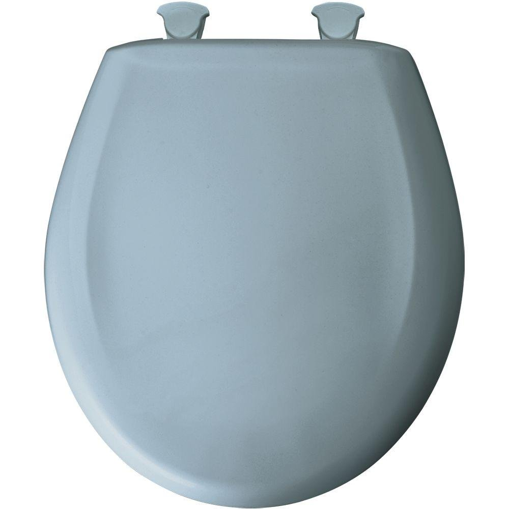 Round Closed Front Plastic Toilet Seat with Cover, Cerulean Blue