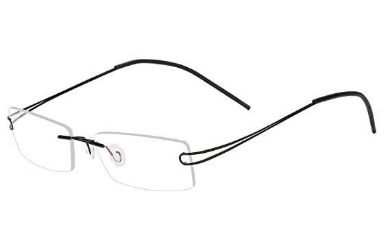 900b9e6ce60 Agstum Pure Titanium Rimless Frame Prescription Hingeless Eyeglasses 52mm  (Black