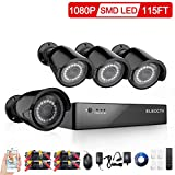 ELECCTV 8-Channel HD-TVI 1080P Lite Video Security System DVR and (4) 1.3MP Indoor/Outdoor Weatherproof Cameras with IR Night Vision LEDs-NO HDD