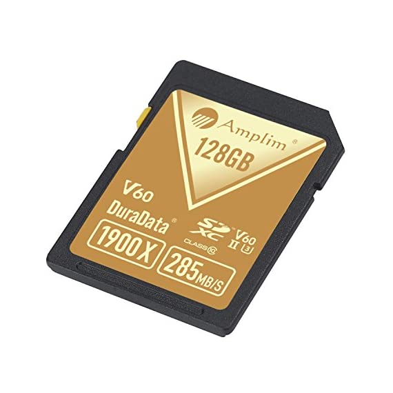 Amplim extreme high speed 32gb uhs-ii v90 sdxc sd card for 4k 8k uhd video camera camcorder 5 ultra high performance sd card: blazing speed 1900x (285mb/s) transfer rate. Twice the read speed of 1000x card. Newest sd association sd 5. 0 specs v60+ video rating provides 4k continuing shooting (other uhs-ii cards without v ratings are last generation sd 4. 0 cards). Top rated uhs-ii u3 class10 pro extreme turbo fast high capacity sd card for latest uhs-ii sdxc (sd xc) compatible cameras, accessories, usb-c sd card reader, microsoft surface book 2 and super fast 3d hdr 360 4k dslr and 3d professional photographer memory card: 32, 64 128 and 256 gig uhs-ii high capacity cards for dslr and mirrorless uhs-ii video cameras (sony, fuji, leica, nikon, olympus, panasonic, samsung). Sony alpha a9 a7 a7r mark iii sf card cyber-shot rx1r ii; fujifilm fuji x-t1 x-pro2 x-t2 gfx 50s x-h1 x-e3; leica sl type 601 m10; nikon d850 d500 fx; olympus om-d e-m5 ii om-d e-m10 ii iii pen-f om-d e-m1 mark ii; panasonic lumix dc-g9 gh5s gh5 gh4; samsung nx1; black magic ursa; support all uhs-ii devices backward compatible with uhs-i cameras (note: speed of uhs-ii card will be limited by the uhs-i sd slot): sony cyber-shot dsc w800 w830 dsch300 alpha a7r ii dsc-rx10 iv a6500 a9 a6300 a99 ii; canon powershot sx720 sx730 sx530 hs elph 180 190 is g7 x 5d mark iv iii ii eos 80d 5ds r rebel t7i t6 t5 kiss x70 x9 x9i 1300d 1200d m100 sl2 200d m56d m10 m677d 9000d 800d; nikon coolpix l32 l340 b500 d3400 d5300 d3300 d750 d7200 d7500 d5600