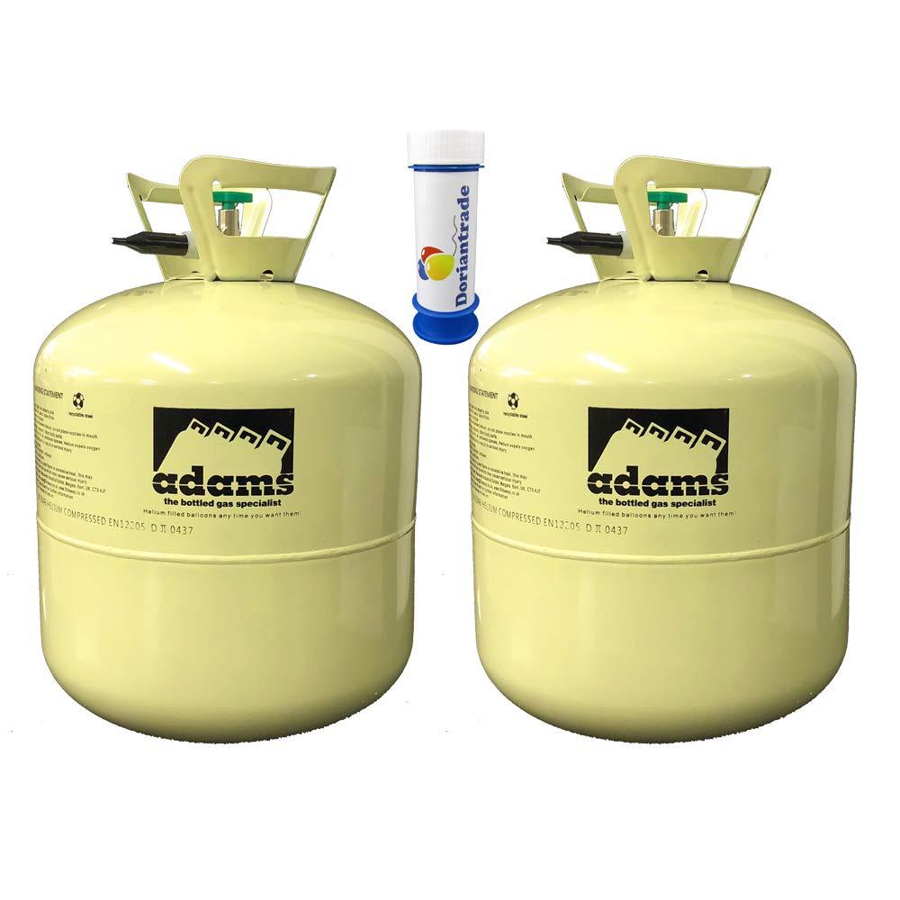 Doriantrade 2X Helium Ballongas 0,42 m³ für ca. 100 Luftballons Ø 23 cm Filln' Away Party Gas