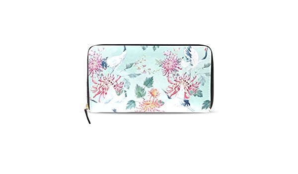 LORVIES Watercolor Crane Pattern PU Leather Large Capacity
