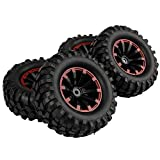 SkyQ 4pcs 1.9 Inch 96mm RC Crawler Tires Tyre and Wheel Rims 12mm Hex for 1/10 RC Crawler Buggy Car