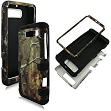Hybrid 3 in 1 Black Camo Pine Motorola Electrify M XT901 U.S Cellular High Impact Shock Defender Plastic Outside with Soft Silicon Inside Drop Defender Snap-on Cover Case