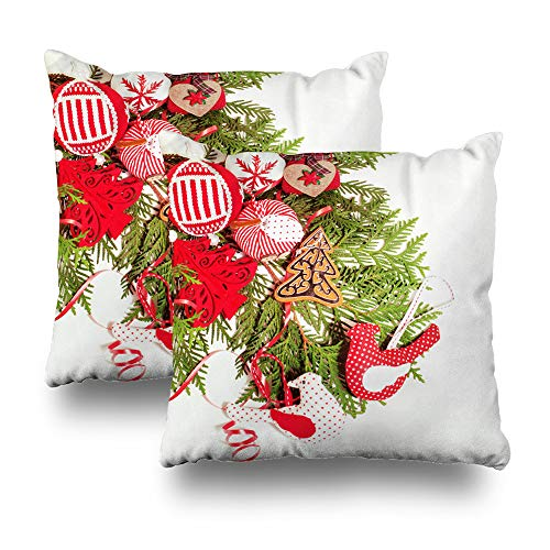 """Darkchocl Set of 2 Daily Decoration Throw Pillow Covers Christmas White Card Square Pillowcase Cushion for Couch Sofa or Bed Modern Quality Design Cotton and Polyester 18"""" x 18"""""""