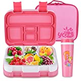 Comfook Lunch Box Sets for Kids, Childrens Bento Boxes Container Sets with Spoon 5 Compartment Leak Proof Food Containers BPA Free Durable for School