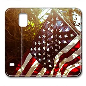 iCustomonline Leather Case for Samsung galaxy S5, The American Flag Stylish Durable Leather Case for Samsung galaxy S5