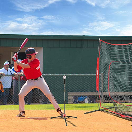 McHom 7' x 7' Baseball & Softball Practice Net Set with Travel Tee, 3 Weighted Balls & Strike Zone for Hitting, Pitching, Batting & Fielding Practice | Collapsible and Portable