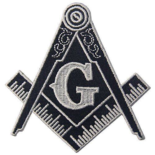 (Masonic Logo Emblem Embroidered Freemason Iron On Sew On Patch - White &)