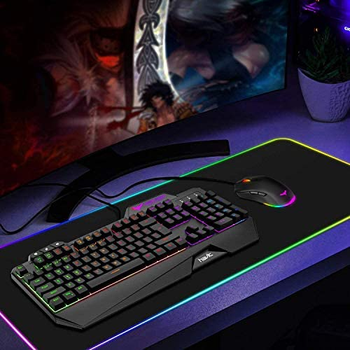 Havit Keyboard Rainbow Backlit Wired Gaming Keyboard Mouse Combo, LED 104 Keys USB Ergonomic Wrist Rest Keyboard, 4800 Dots Per Inch 6 Button RGB Mouse for Windows Gamer Desktop, Computer (Black) 51suY30efZL
