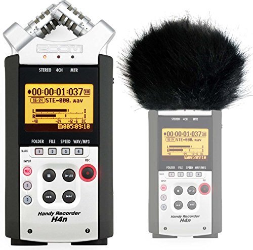 Zoom H4nSP Handy Recorder + KEEPDRUM WS-BK Fell-Windschutz