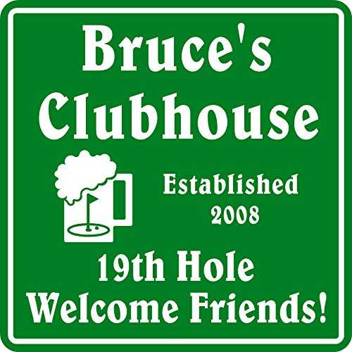 (New Personalized Custom Name Golf Sign #6 Welcome Friend 19th Hole Gift Bar)