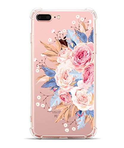 iPhone 8 Plus Case Clear iPhone 7 Plus Case with Flowers Pattern Hepix Soft Flexible TPU Floral Print Protective Bumper Cover Case for iPhone 8 Plus and iPhone 7 Plus[5.5 inch] (Pink Flower)