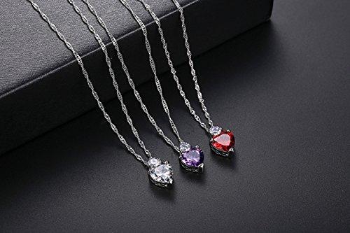 Collar Daorier Wellery Señora Pc La 1 Diamante De Colgante Chica Silver Cadena Corazón Cristal FrwrYqAv