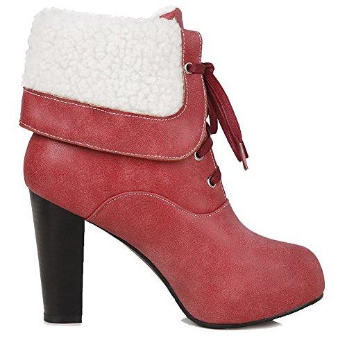VogueZone009 Damen Blend-Materialien Schließen Zehe Niedrig-Spitze Stiefel Rot-Wasserdicht Plattform