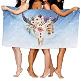 Sakanpo Bath Towel Southwest Cow Skull Tribal Markings and Flowers Personalize Lightweight Large Swim Beach Towels