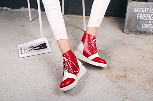 Flats Fall Short Red Women's Winter PU Party Round Ladies Shoes EUR37UK455 Artificial Black Lace RED Boots NVXIE head Work tqBOXww