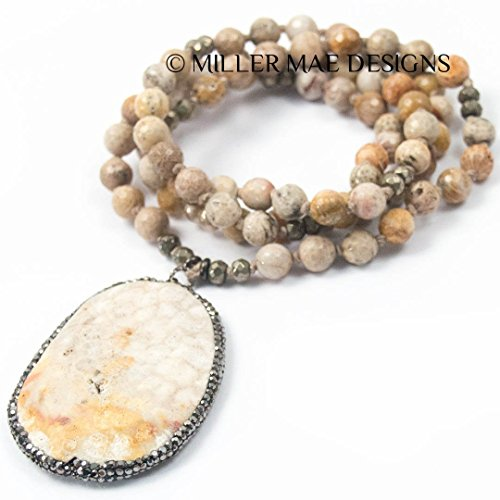 [Pavé Hematite & Fossil Coral Pendant Necklace with Hand-Knotted Faceted Fossil Coral Stones and Pyrite Accents - 32 Inches Long Handmade Necklace by Miller Mae Designs] (Fossil Hematite Necklace)