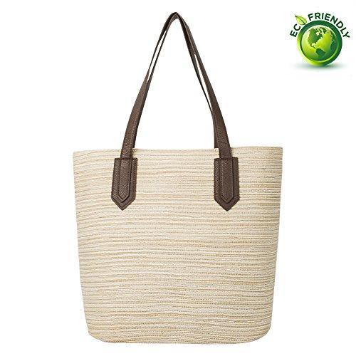 Myathle Summer Beach Handmade Tote Handbag Cotton Lining PU Leather for Ladies (Natural Beach Tote)