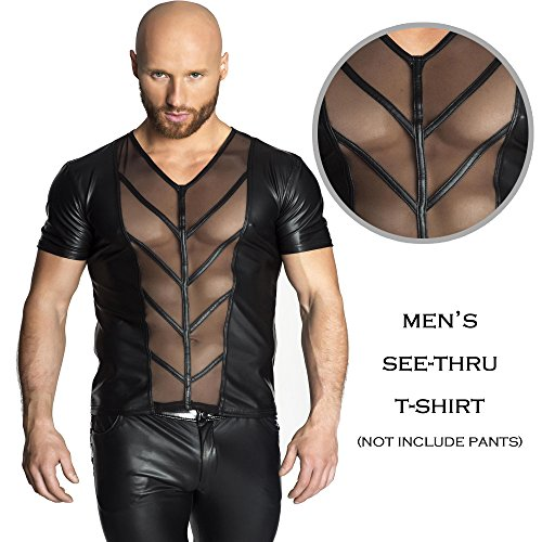 Nightclub Halloween Costume Ideas (Chris&Je Men's Sexy Clubwear See-thru Patchwork with Tulle)