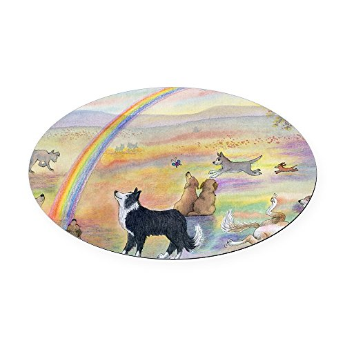 Rainbow Bridge Border (CafePress - Waiting At The Rainbow Bridge - Do - Oval Car Magnet, Euro Oval Magnetic Bumper Sticker)