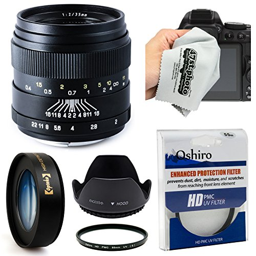 Oshiro 35mm f/2 Wide Angle Full Frame Prime Lens with Hoo...