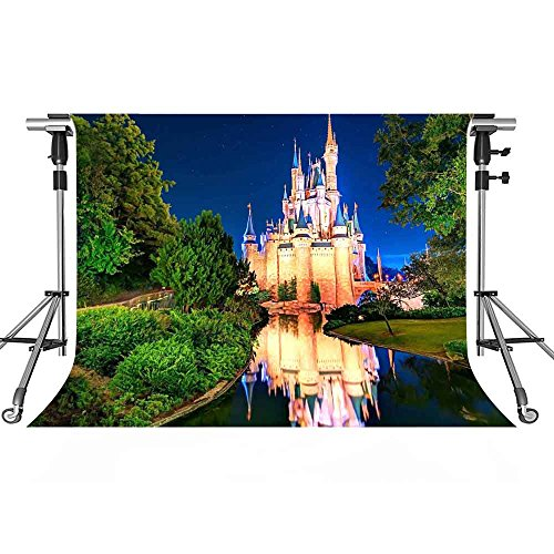 MEETS 7x5ft Disneyland Photography Backdrop Light Illuminates Building River Green Plant Background Photo booth studio props theme party YouTube Backdrop LXMT152 ()