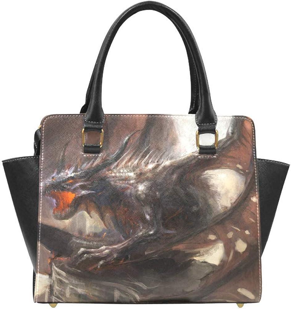 InterestPrint Dinosaur Tiger Phoenix Women Rivet Leather Shoulder Handbags Top Handle Bags with Crossbody Strap