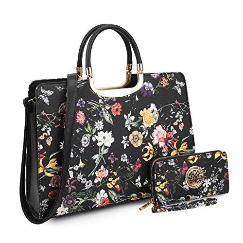 - Dasein Designer Purse Flower Satchel Handbag PU Leather Purse Top Handle Handbags (XL2828 2PCs- Black Flower)