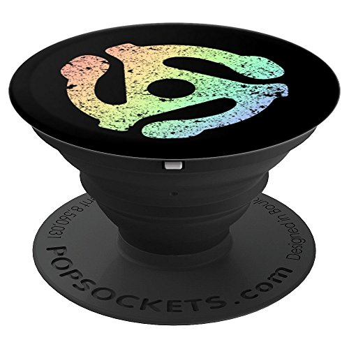 DJ 45 RPM Adapter Turntable Record Soft Rainbow Gay Pride - PopSockets Grip and Stand for Phones and Tablets by Tee Kaboom!