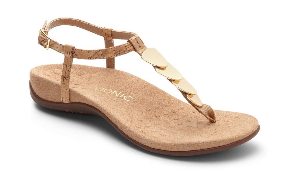 Vionic Women's Rest Miami Toe-Post Sandal Gold Cork 7 M US by Vionic
