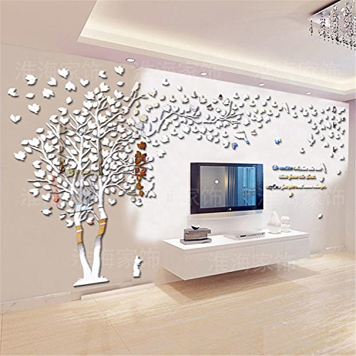 DIY 3D Giant Couple Tree Wall Decals Wall Stickers Crystal Acrylic Wall Décor Arts (L, Silver, Left to Right) by MJTP (Image #3)
