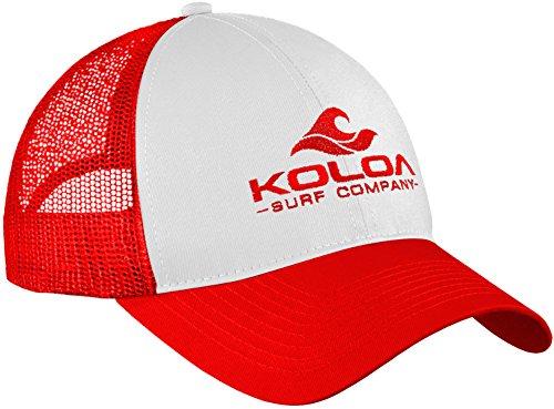 Koloa Surf Wave Logo Old School Curved Bill Mesh Snapback Hat-RedWhiteRed/r