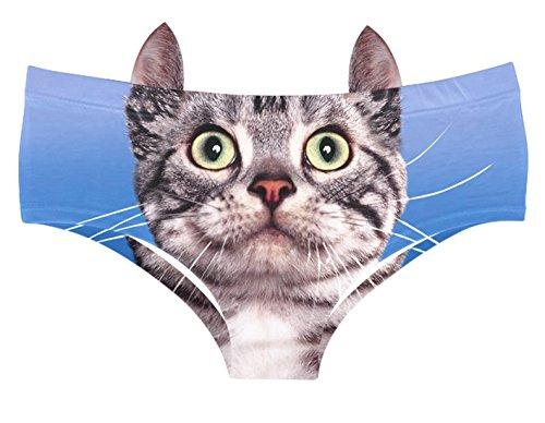 8b448000b3f7 Galleon - JINKAIJIA Women's Brief Panties 3D Animal Prints Briefs With Cute  Ears (EDNK014-L)