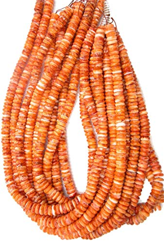 Orange Spiny Oyster Shell 8mm Wheel Rondell Beads, 16 inch Strand