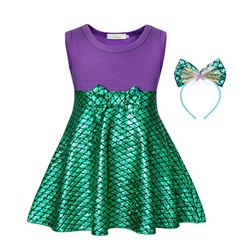 MetCuento Mermaid Outfit for Girls Ariel Toddler Costume Sequin Skirt Theme Party Role Play Halloween Dress Up Outfit Green 4T(3-4