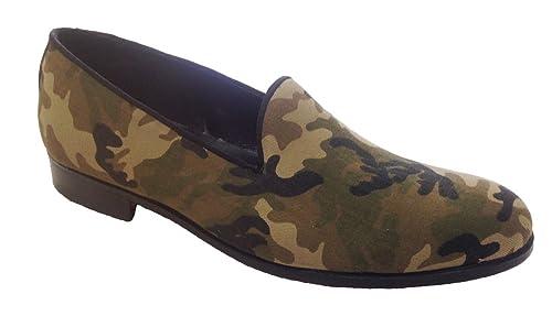 Garofalo Gianbattista - Mocasines de Lona para Hombre Verde Camuflaje: Amazon.es: Zapatos y complementos