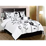 Chezmoi Collection 7-Piece White, Grey and Black Lily with Leaf Applique Duvet Cover Set, Queen Size Bedding