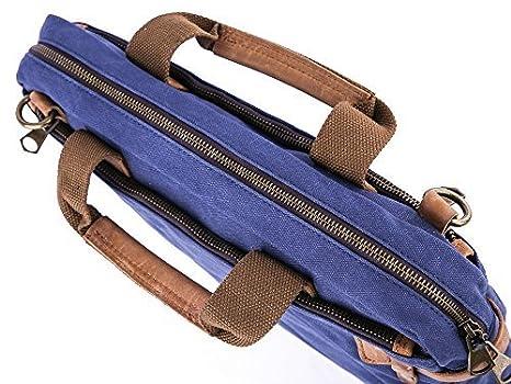 Gootium 50412 High Density Canvas Full Grain Leather Laptop Shoulder Handbag