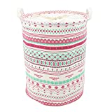 Homele Cute Laundry Basket for Women Girl Kids Baby, Waterproof Laundry Hamper Bucket with Drawstring Cover, Collapsible & Convenient Ramie Cotton Fabric Storage Basket Bin Organizer (Red Bohemia)