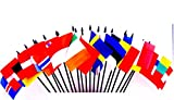 Northwest Europe World Flag SET-20 Polyester 4''x6'' Flags, One Flag for Each Country in Northwest Europe 4x6 Miniature Desk & Table Flags, Small Mini Stick Flags