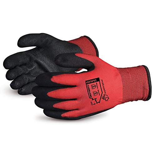 Superior Winter Work Gloves - Fleece-Lined with Black Tight Grip Palms (Cold Temperatures) SNTAPVC - Size Medium