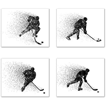 Summit Designs Ice Hockey Wall Art Prints - Particle Silhouette - Set of 4 (8x10) Poster Photos - Bedroom - Man Cave Decor