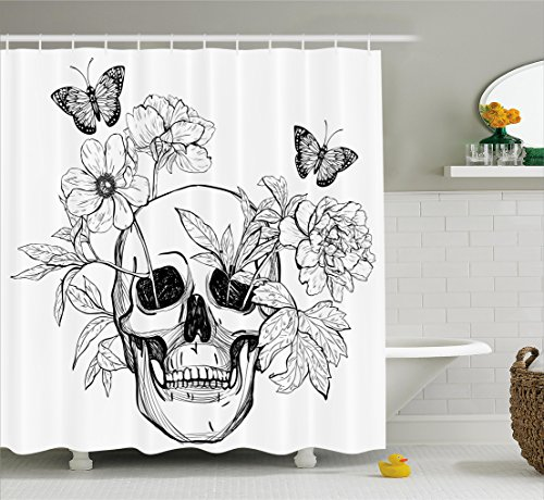 Ambesonne Day of The Dead Decor Shower Curtain, Skull with Flower Blooms and Butterflies Vintage Gothic Print, Fabric Bathroom Decor Set with Hooks, 84 inches Extra Long, Black and White -