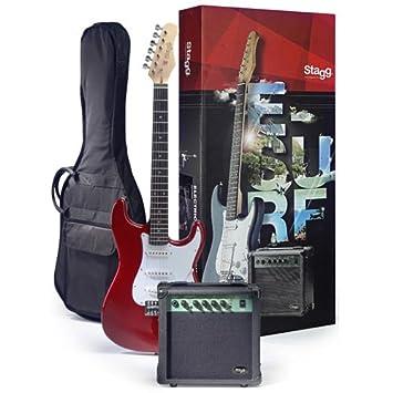 Stagg eSurf 250 TR Paquete de guitarra eléctrica con el amperio y la carcasa roja: Amazon.es: Instrumentos musicales