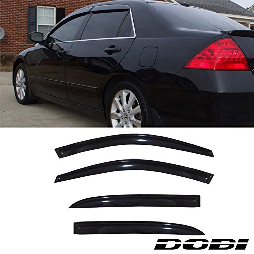 VioGi 4pcs Dark Smoke Outside Mount Style Sun Rain Guard Vent Shade Window Visors Fit 03-07 Honda Accord 4-Door Sedan DOBI